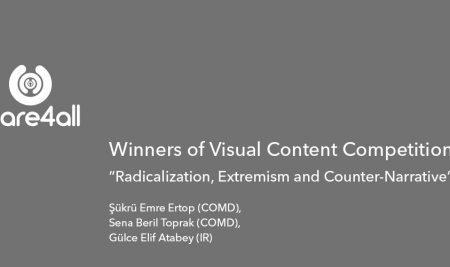 Şükrü Emre Ertop (COMD), Sena Beril Toprak (COMD), Gülce Elif Atabey (IR) won the first prize in the EU funded Visual Content Competition